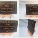 Laser engraved slate with text and logos